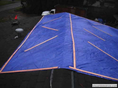 After - Tarp must extend over the ridge