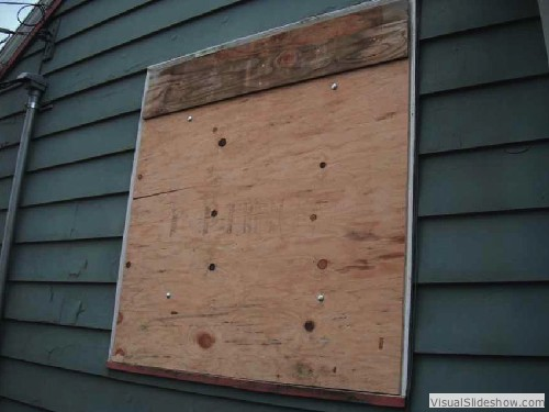 Exterior After - Notice the small strip of plywood spliced to the large piece